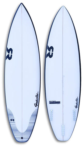 new gr surfboard logo with black rails