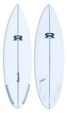 gunther rohn surfboard model the lunatic. short board with a wing and round tail.