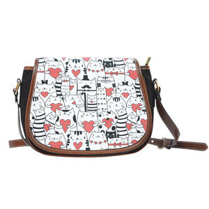 Lovely Cats Canvas Saddle Bag
