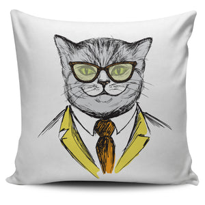 Cat with glass Pillow Cover