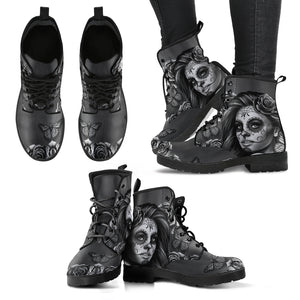 Black and White Calavera Leather Boots