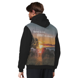 """Heaven is a bit closer on a horse"" Unisex Sherpa Hoodie"