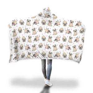 Cute Pugs Hooded Blanket