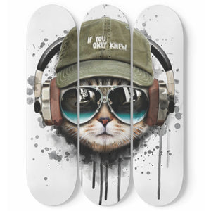 Watercolor Cat Listening a Music 3 Skateboard Wall Art