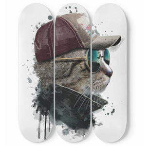 Watercolor Cool Cat with Glasses 3 Skateboards Wall Art