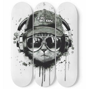 Cat Listening a Music 3 Skateboard Wall Art