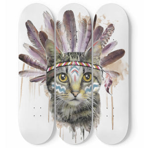 American Indian Cat 3 Skateboard Wall Art