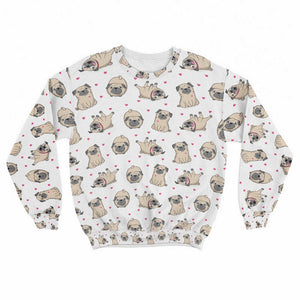 Cute Pugs Crew Sweatshirt Limited Edition