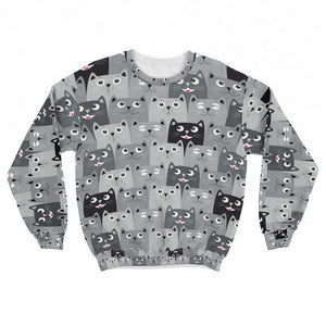 Cat Faces Crew Sweatshirt Limited Edition