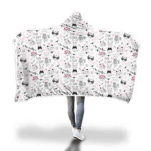Fun Day Cat Hooded Blanket