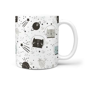 Space Cat 360 White Mug