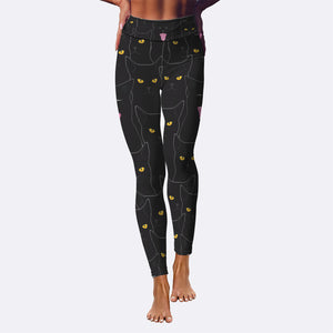 Black Cats Yoga Leggings
