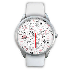 Fun Day Cats Silver Watch