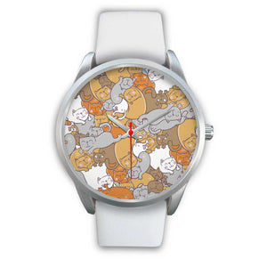 Sleep Cats Silver Watch