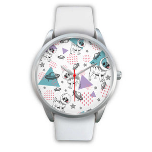 Space Pugs Silver Watch