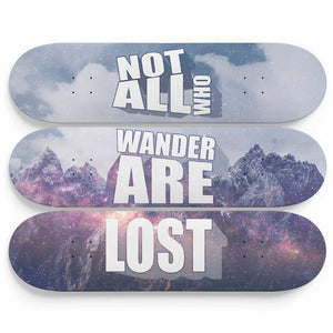 """Not All Who Wander Are Lost"" 3 Skateboard Wall Art"