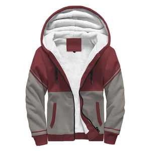 Red and Gray Unisex Sherpa Hoodie