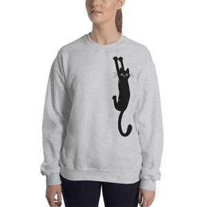 Black Cat Holding Crew Sweatshirt