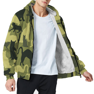 Cat Camouflage Unisex Sherpa Hoodie