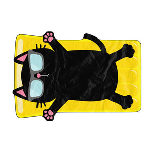 Black Cat Sunbathing On The Beach Beach Towel