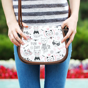 Fun Day Cats Canvas Saddle Bag