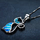 Blue Opal Cat Women Necklace - Pets Lovers Store