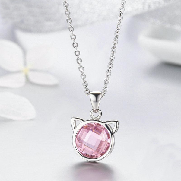 925 Sterling Silver Cute Cat Pendant Necklaces