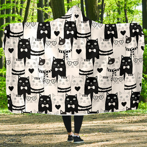 Cute Cats Hooded Blanket