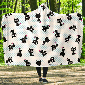 Black Cats Hooded Blanket