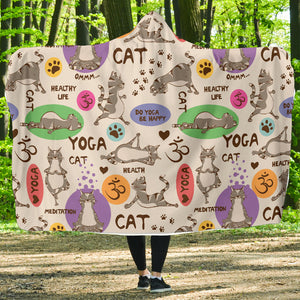 Yoga Cats Hooded Blanket