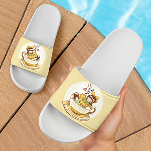 Cute Cats and Little Girl Slide Sandals