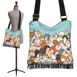 Cute Cats Crossbody Boho Handbag