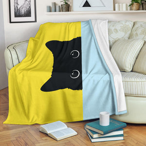 Black Cat Faces Premium Blanket