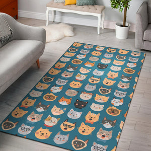 Cat Faces Area Rug