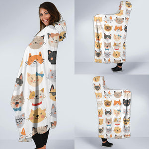 Cat Faces Hooded Blanket
