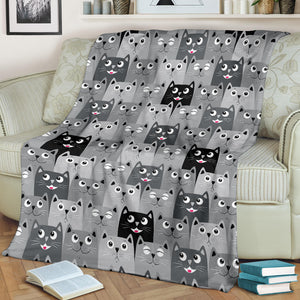 Cat Faces Premium Blanket
