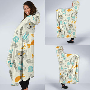 Cats and Fishes Hooded Blanket