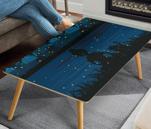 Cat and Girl Rectangular Coffee Table