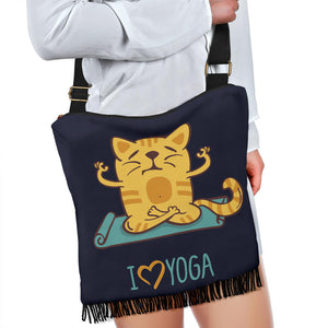 I Love Yoga Cat Crossbody Boho Handbag