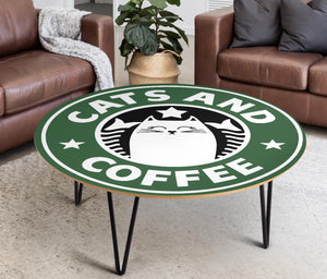 Cats and Coffee Circular Coffee Table