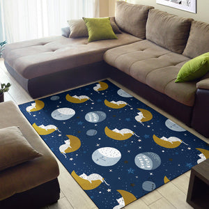 Cat and Moon Area Rug