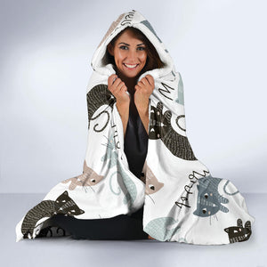 Meow Cats Hooded Blanket