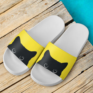 Black Cat Face Slide Sandals