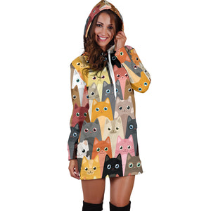 Cute Cats Women's Hoodie Dress Limited Edition