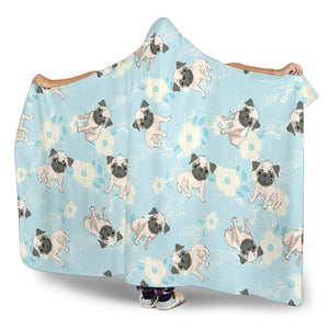 Lovely Pugs Hooded Blanket
