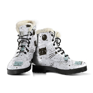 Space Cats Faux Fur Leather Boots