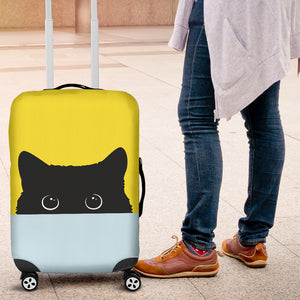 Black Cat Face Luggage Covers