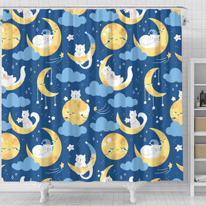 Cats and Moon Shower Curtain
