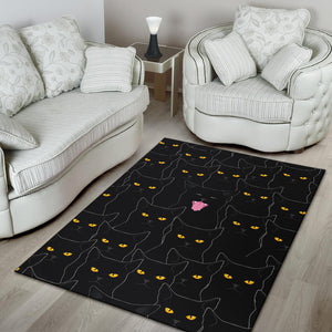 Black Cats Area Rug