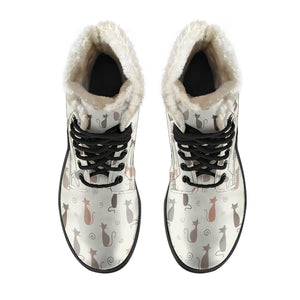 Cute Cats Faux Fur Leather Boots